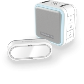 Timbre inalámbrico portátil con halo de luz, modo Noche y pulsador – Blanco