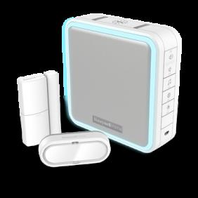 Campanello portatile senza fili con amplificatore di campo, sensore porta e pulsante – Bianco