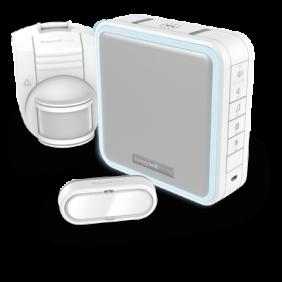 Timbre inalámbrico portátil con amplificador de alcance, sensor inalámbrico de movimiento y pulsador – Blanco