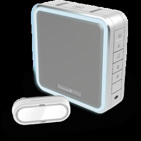 Timbre inalámbrico portátil con amplificador de alcance, modo Noche y pulsador – Gris