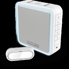 Funk-Gong mit Repeater/Reichweitenverstärker, HALO-Lichtring, LED-Blitzlicht und Klingeltaster – Weiß