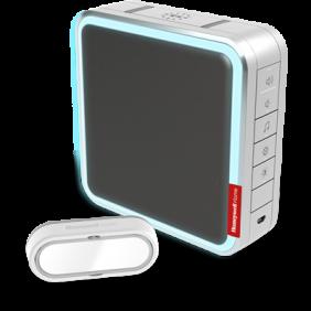 Timbre inalámbrico portátil con amplificador de alcance, melodías personalizables y pulsador – Gris