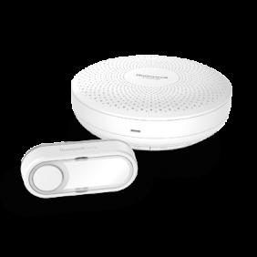 Campanello portatile senza fili con pulsante – Circolare, Bianco