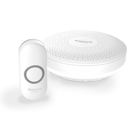 Trådløs, bærbar dørklokke med volumenkontrol og trykknap – Rund, Hvid
