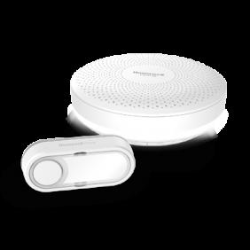 Timbre inalámbrico portátil con control del volumen y pulsador – Redondo, Blanco