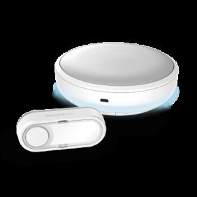 Campanello portatile senza fili con indicatore luminoso Halo e pulsante – Circolare, Bianco